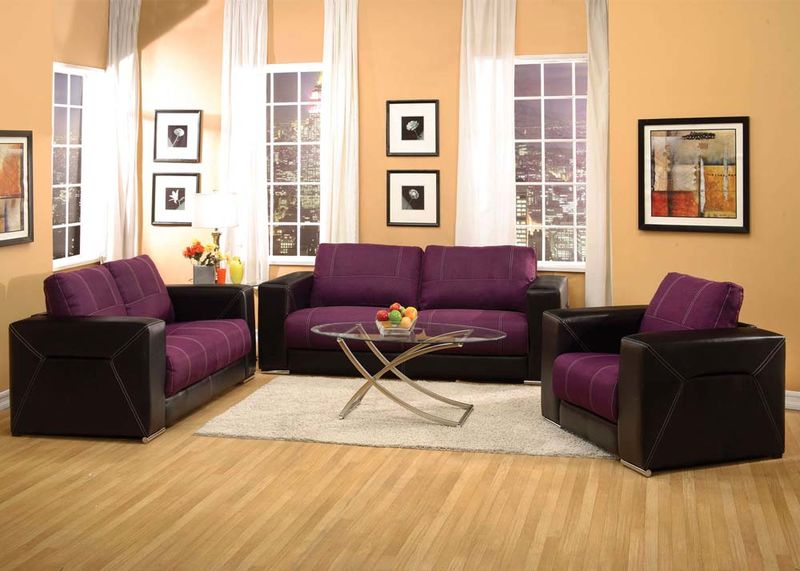 Brayden Living Room Set in Purple