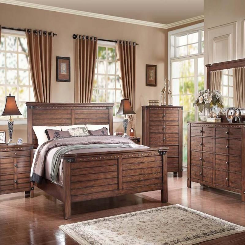 Brooklyn Bedroom Set with Nailhead Trim