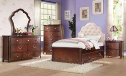 Cecilie Youth Bedroom with Padded Headboard in Cherry