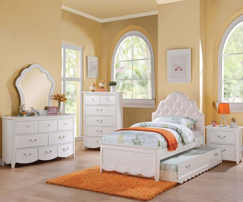 Cecile Youth Bedroom with Padded Headboard in White