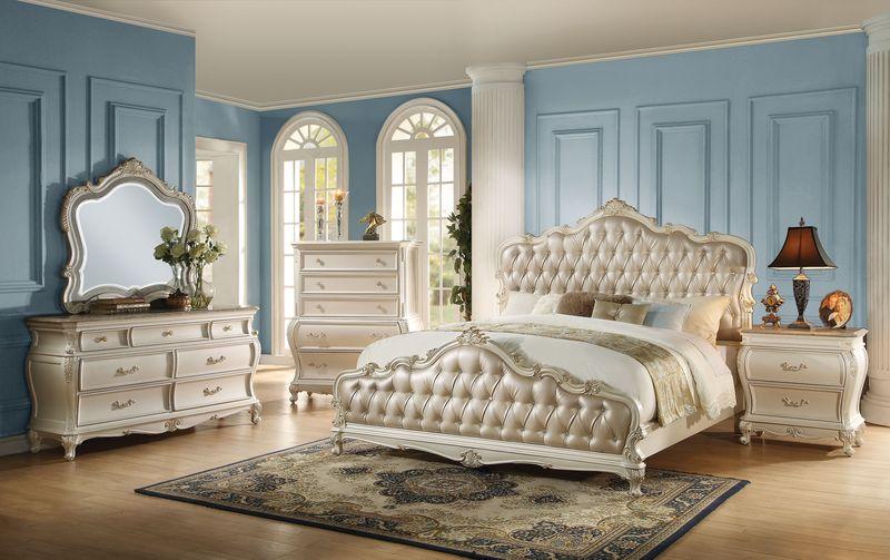 Acme | 23540Q Chantelle Bedroom Set in White | Dallas Designer ...