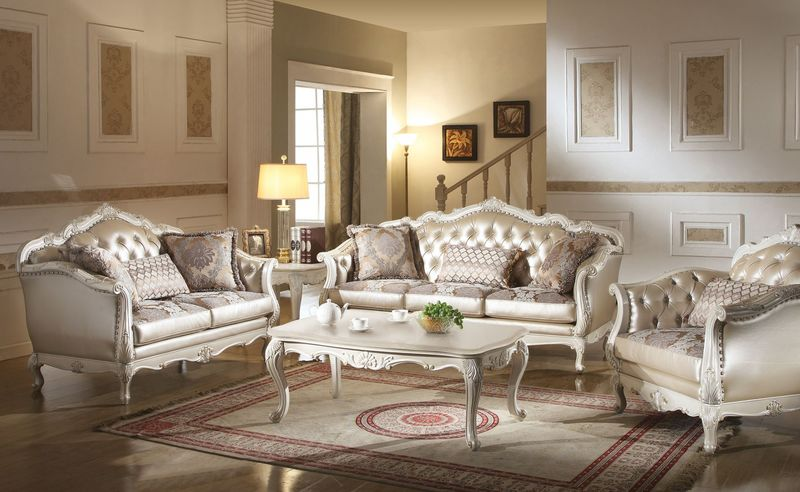 Acme | 53540 Chantelle Formal Living Room Set in White | Dallas Designer  Furniture