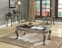Chantelle Coffee Table Set in Platinum