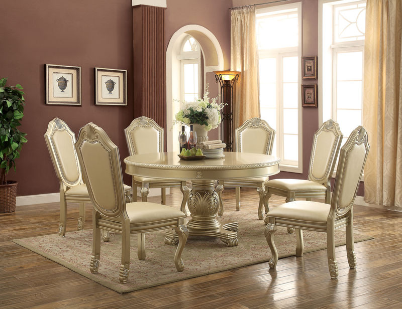 chateau de ville formal dining room set in silver with round table