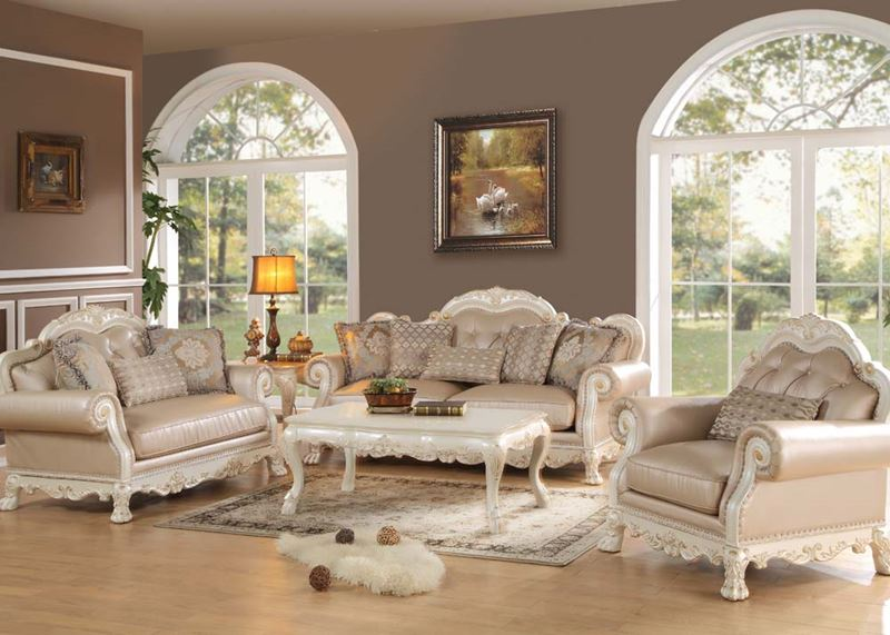 Dresden Formal Living Room Set in Antique White