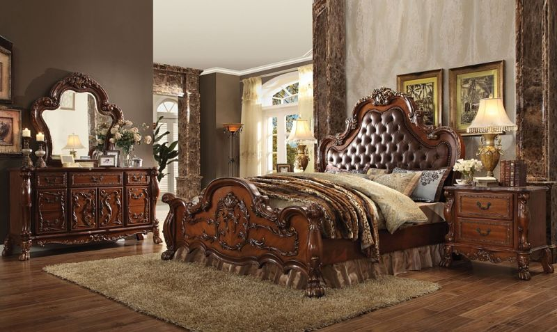 Dresden Bedroom Set in Cherry with Upholstered Headboard