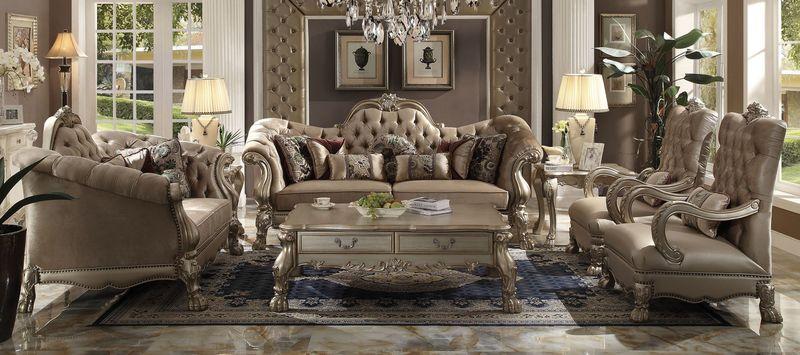 Dresden Formal Living Room Set in Bone Velvet