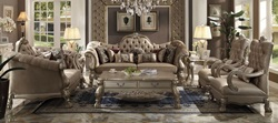 Dresden Formal Living Room Set in Bone Velvet