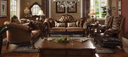 Dresden Formal Living Room Set in Brown Velvet