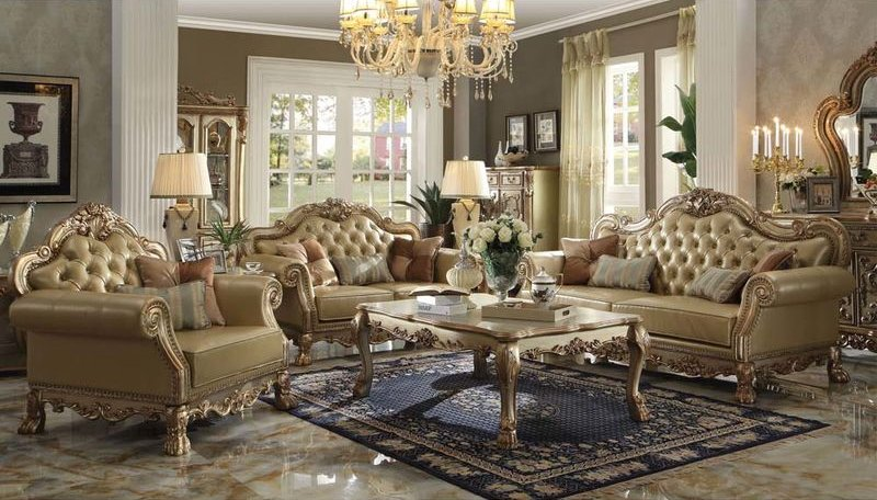 Dallas Designer Furniture | Dresden Formal Living Room Set in Gold