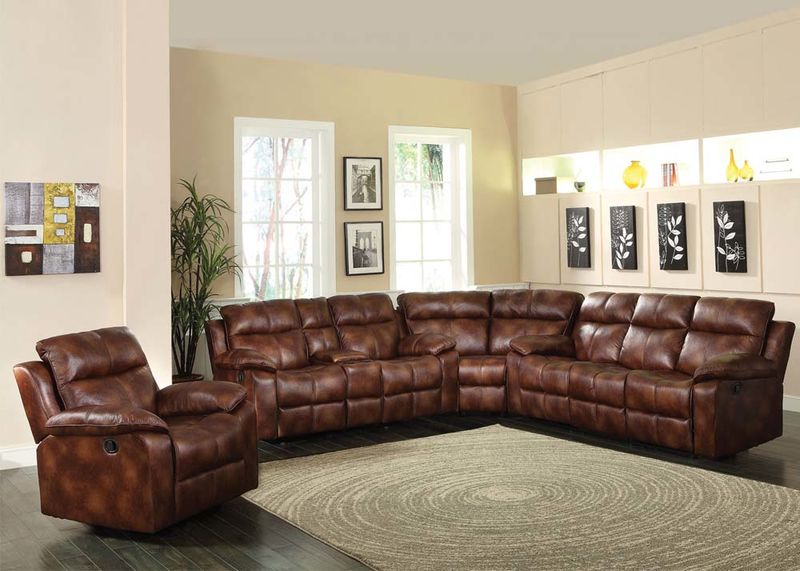 Dyson Reclining Sectional in Brown