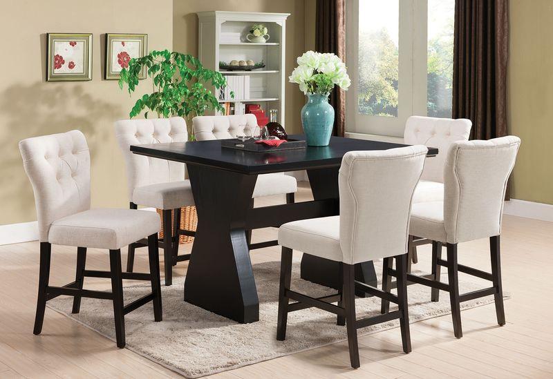 Effie Counter Height Dining Room Set in Beige