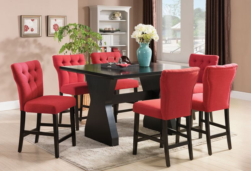 effie counter height dining room set in red - Red Dining Room Set