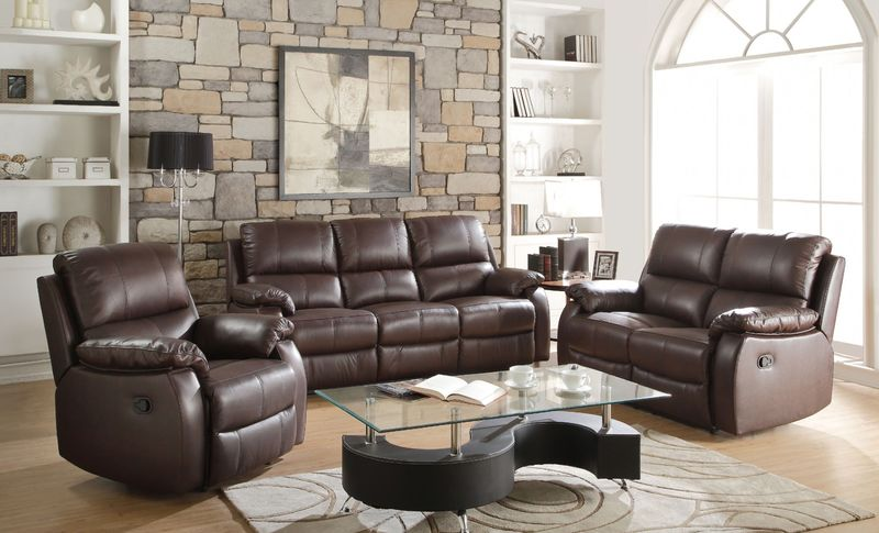 Enoch Reclining Leather Living Room Set