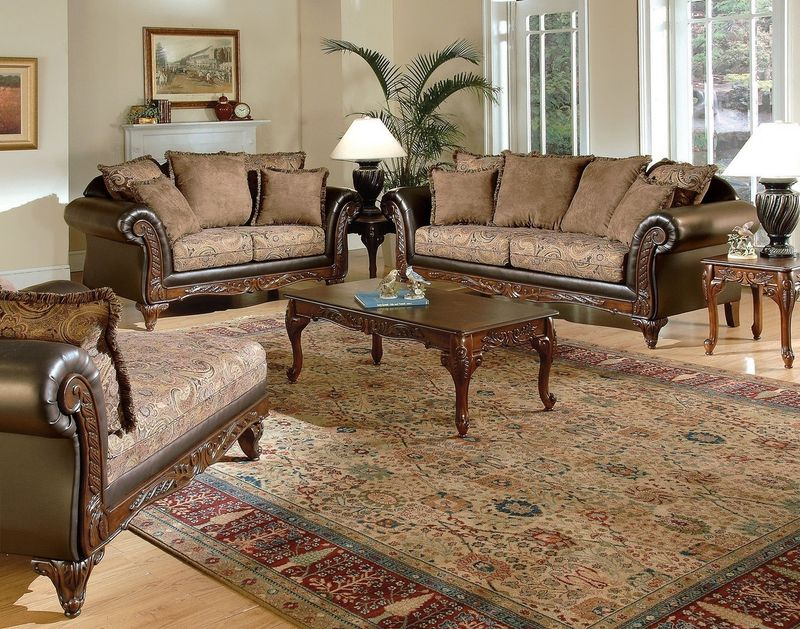 Fairfax Living Room Set in Chocolate/Raisin