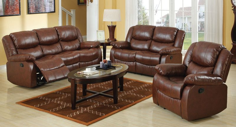 Fullerton Reclining Living Room Set in Brown