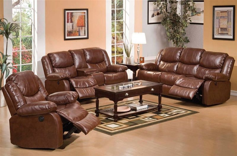 Fullerton Reclining Living Room Set with Power Motion in Brown