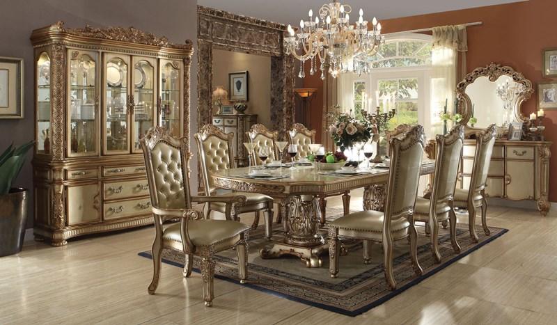 Vendome Formal Dining Room Set in Gold
