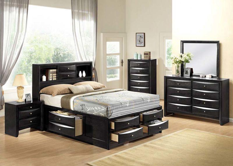 acme | 21610q ireland bedroom set with storage bed in black | dallas
