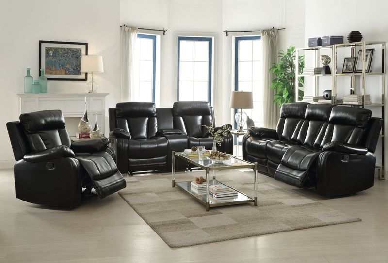 Isidro Reclining Living Room Set in Black