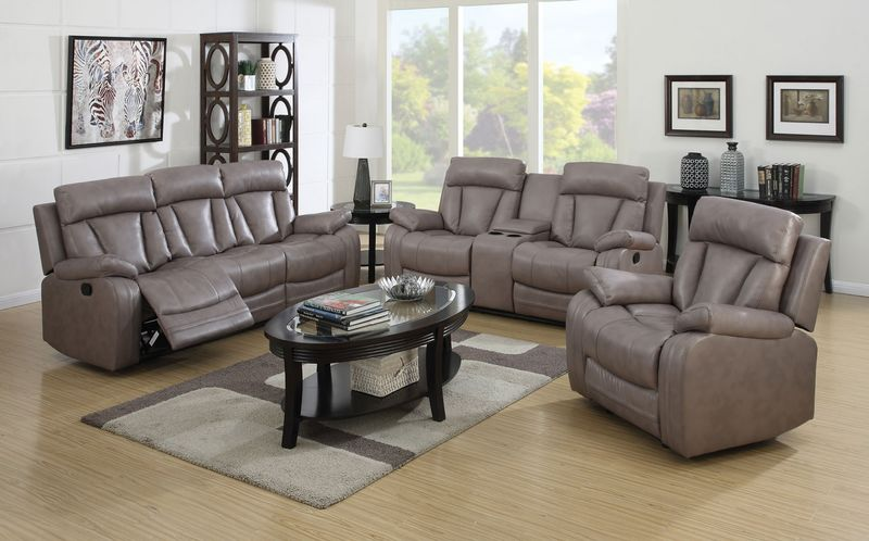 Isidro Reclining Living Room Set in Gray
