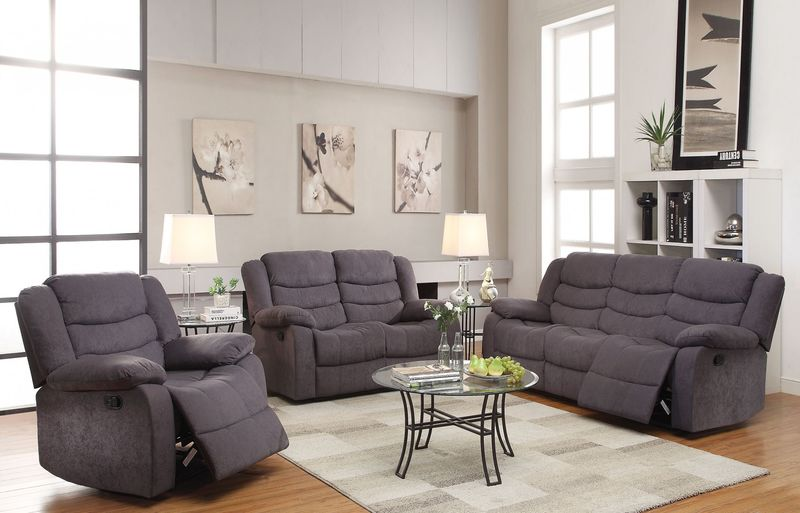 Jacinta Reclining Living Room Set in Gray