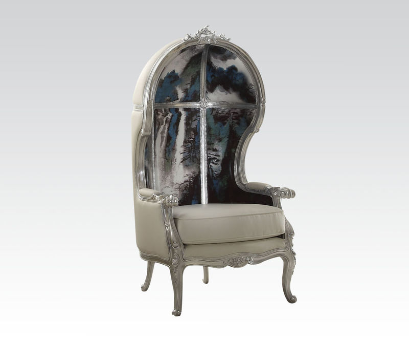 Jana Hooded Accent Chair in Silver/White