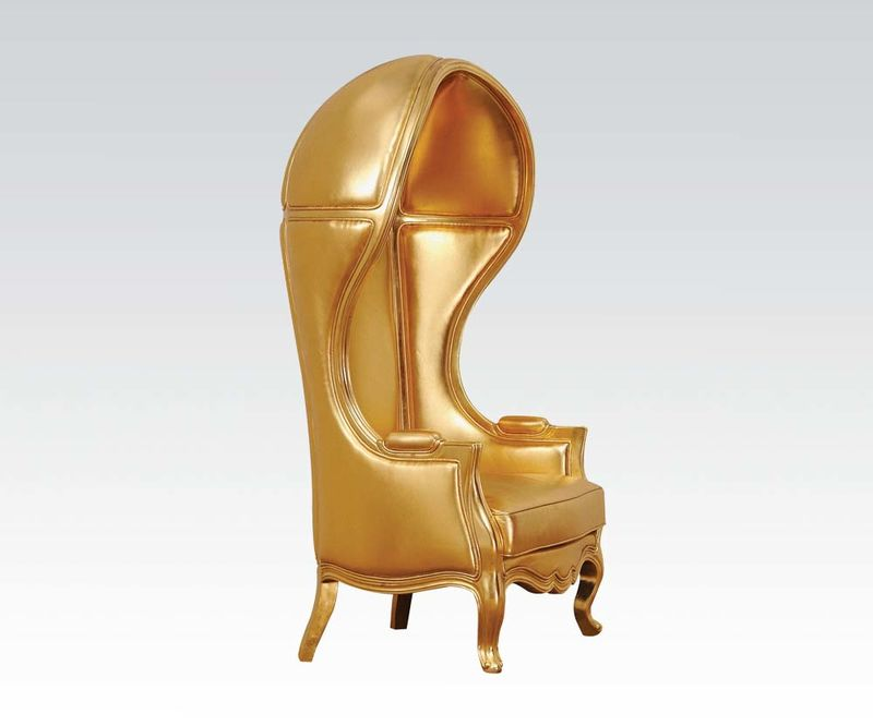 Jana Hooded Accent Chair in Gold