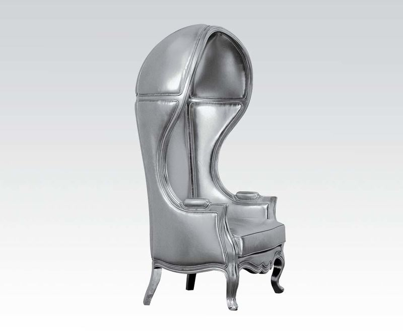 Jana Hooded Accent Chair in Silver
