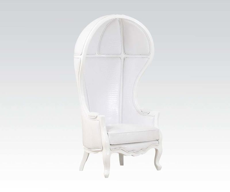 Jana Hooded Accent Chair in White