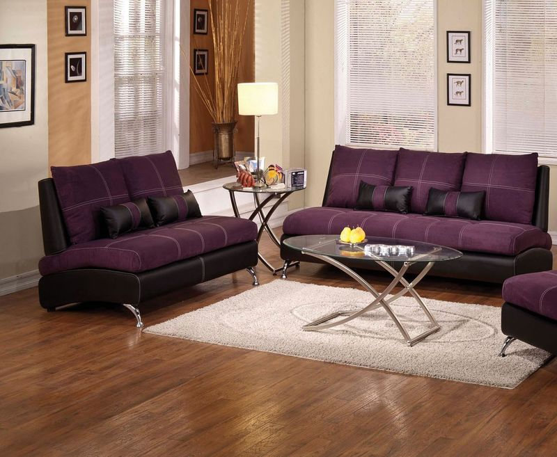 Jolie Living Room Set in Purple
