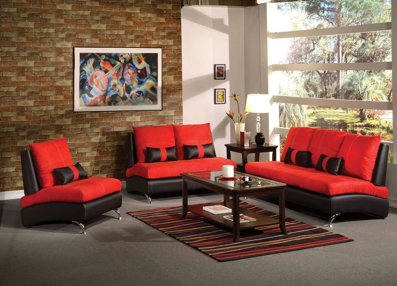 Jolie Living Room Set in Red