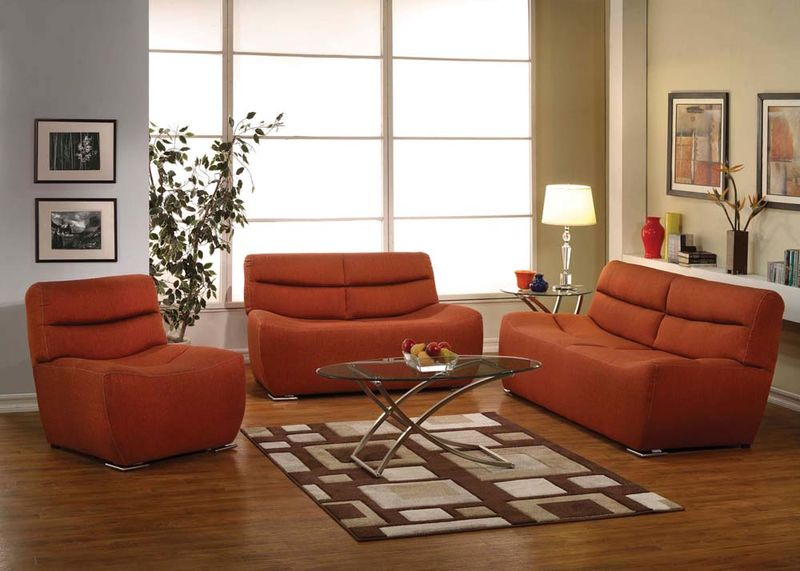 Kainda Living Room Set in Orange