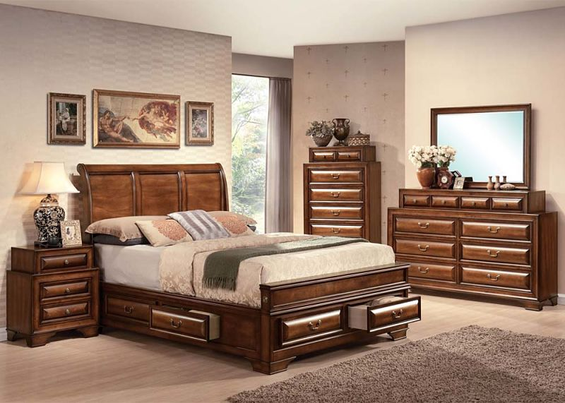 Acme 20450q konane bedroom set with storage bed dallas designer furniture for Bedroom set with storage drawers