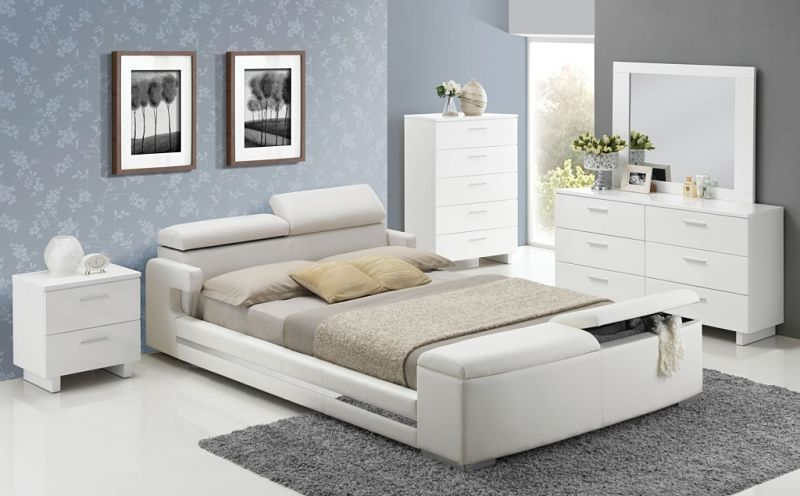 Dallas designer furniture layla bedroom set with storage bed for White bedroom set with storage