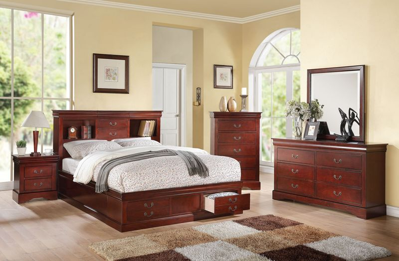 Louis Philippe Bedroom Set With Storage Bed In Cherry ...