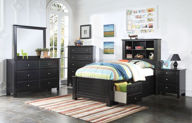 Mallowsea Youth Bedroom Set with Storage Bed in Black