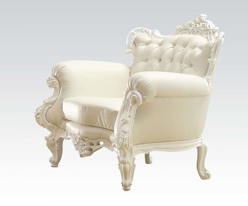 Nels Accent Chair in White/White