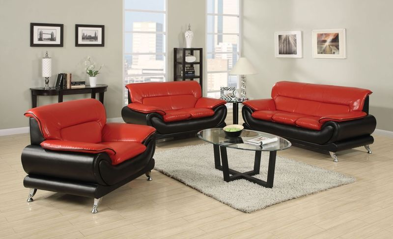 Orel Living Room Set in Red