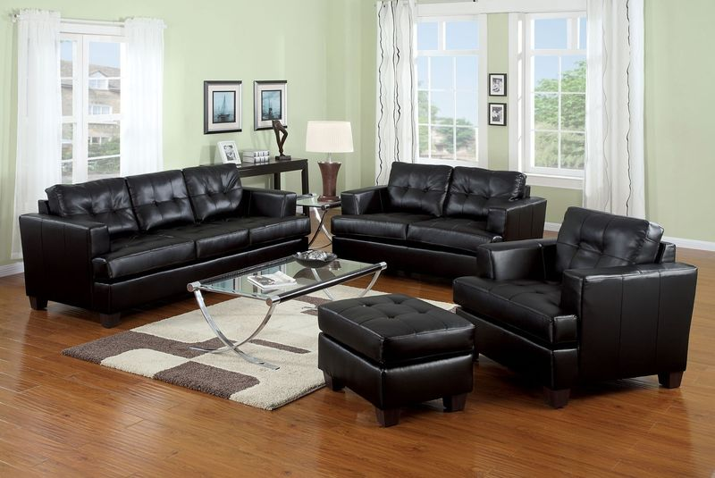 Platinum Living Room Set in Black
