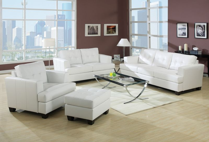 Platinum Living Room Set in White