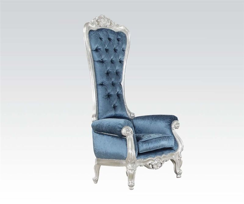 Raven Accent Chair in Silver/Blue