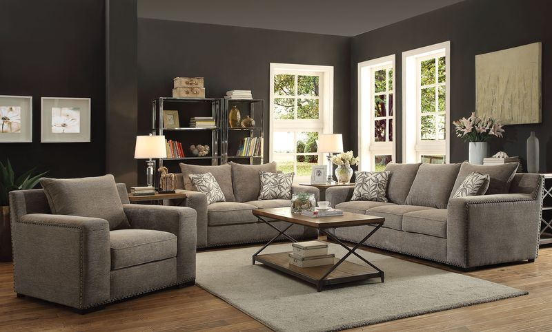 Ushury Living Room Set with Neutral Accents