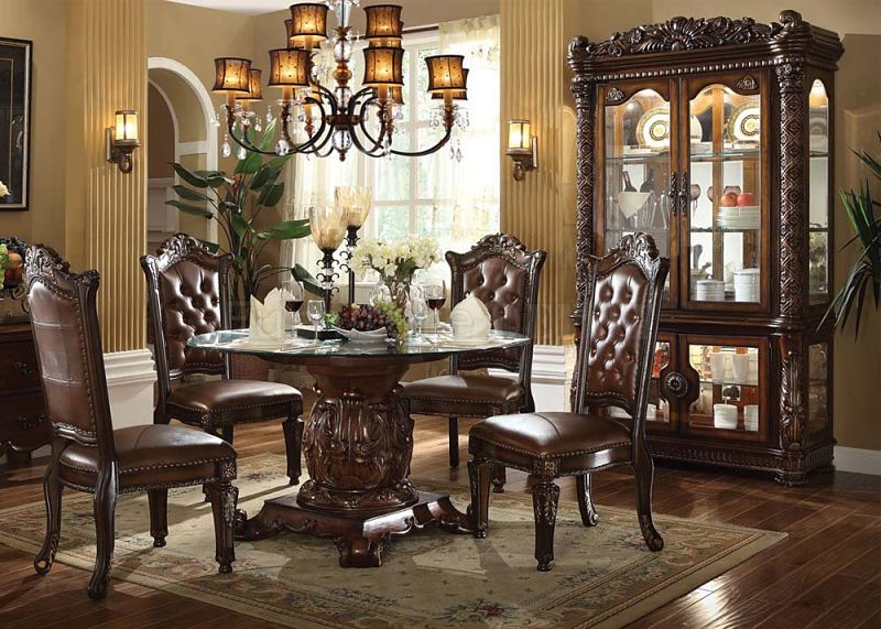 Vendome Round Formal Dining Room Set With Glass Table Top ...