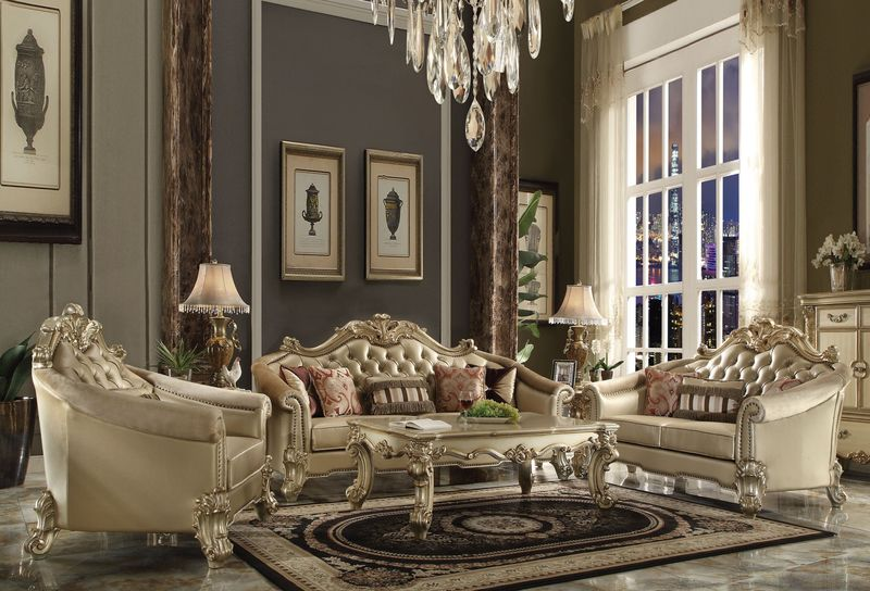 Vendome II Formal Living Room Set in Gold