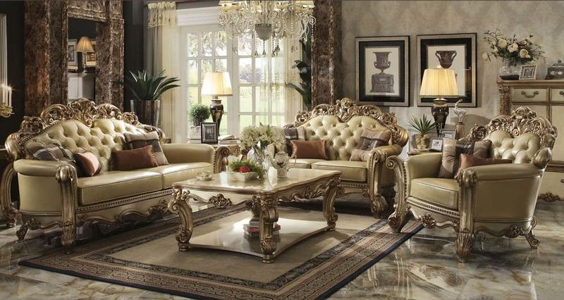 Vendome Formal Living Room Set in Gold