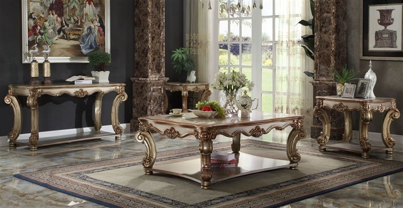 Vendome Coffee Table Set in Gold