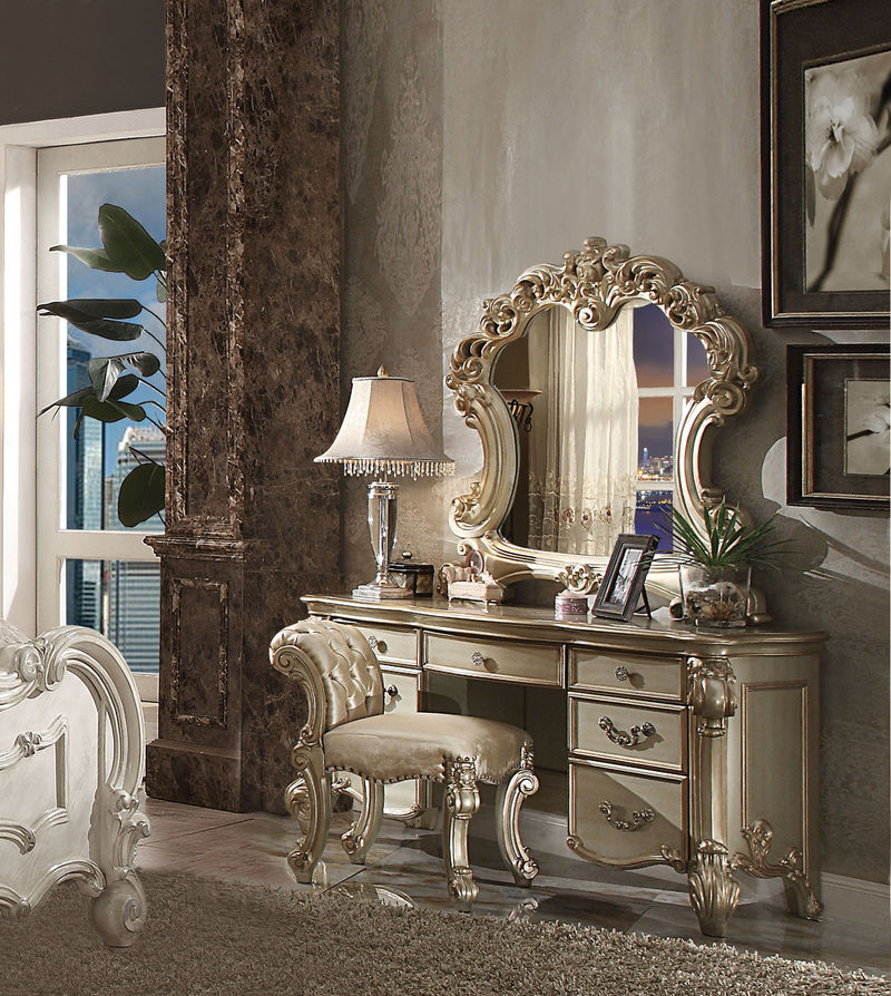 Vendome Vanity Desk with Mirror in Gold