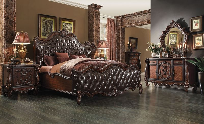 Versailles Bedroom Set in Dark Cherry