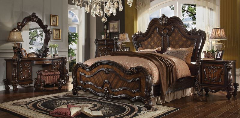 Versailles Bedroom Set in Dark Cherry Oak